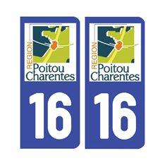 Sticker plaque Charente 16 - Pack de 2