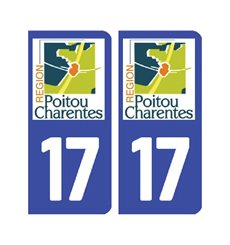 Sticker plaque Charente-Maritime 17 - Pack de 2