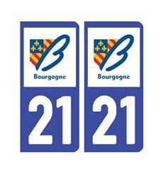 Sticker plaque Côte-d'Or 21 - Pack de 2