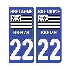 Sticker plaque Côtes d'Armor 22 - Pack de 2