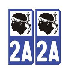 Sticker plaque Corse-du-Sud 2A - Pack de 2