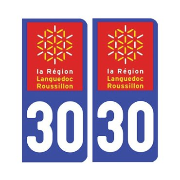 Sticker plaque Gard 30 - Pack de 2 - languedoc-roussillon-midi-pyrénées & stickers auto - stickmycar.fr