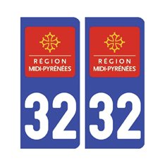 Sticker plaque Gers 32 - Pack de 2