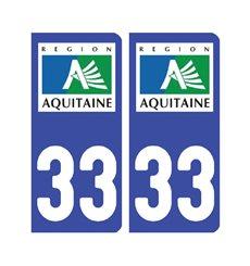Sticker plaque Gironde 33 - Pack de 2