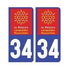 Sticker plaque Hérault 34 - Pack de 2