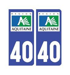 Sticker plaque Landes 40 - Pack de 2