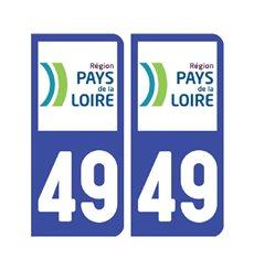 Sticker plaque Maine-et-Loire 49 - Pack de 2