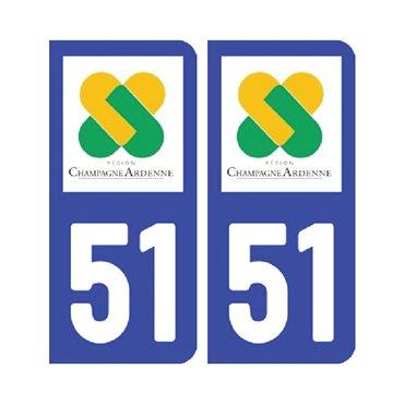 Sticker plaque Marne 51 - Pack de 2 - alsace-champagne-ardenne-lorraine & autocollant voiture - stickmycar.fr