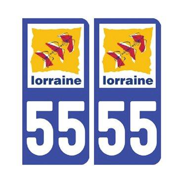 Sticker plaque Meuse 55 - Pack de 2 - alsace-champagne-ardenne-lorraine & autocollant voiture - stickmycar.fr