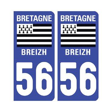 Sticker plaque Morbihan 56 - Pack de 2 - bretagne & stickers auto - stickmycar.fr