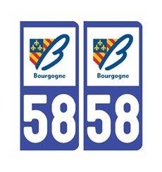 Sticker plaque Nièvre 58 - Pack de 2