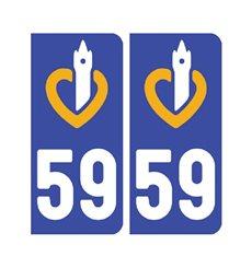 Sticker plaque Nord 59 - Pack de 2