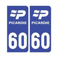 Sticker plaque Oise 60 - Pack de 2