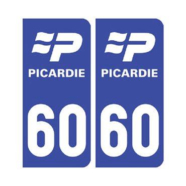 Sticker plaque Oise 60 - Pack de 2 - nord-pas-de-calais-picardie & stickers auto - stickmycar.fr