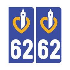 Sticker plaque Pas-de-Calais 62 - Pack de 2