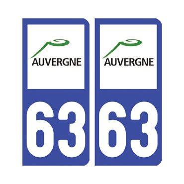 Sticker plaque Puy-de-Dôme 63 - Pack de 2 - auvergne-rhône-alpes & autocollant voiture - stickmycar.fr