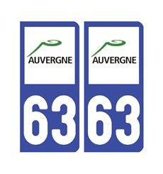 Sticker plaque Puy-de-Dôme 63 - Pack de 2