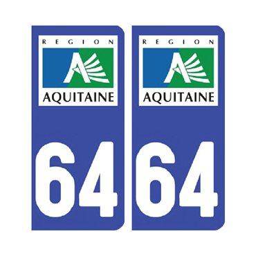 Sticker plaque Pyrénées-Atlantiques 64 - Pack de 2 - aquitaine-limousin-poitou-charentes & stickers auto - stickmycar.fr