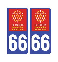 Sticker plaque Pyrénées-Orientales 66 - Pack de 2