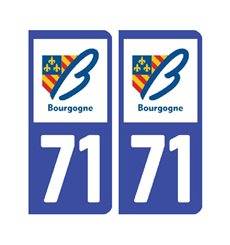 Sticker plaque Saône-et-Loire 71 - Pack de 2