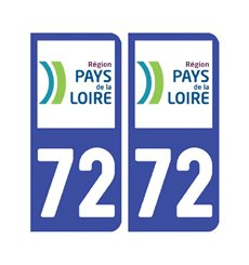 Sticker plaque Sarthe 72 - Pack de 2