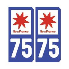 Sticker plaque Paris 75 - Pack de 2