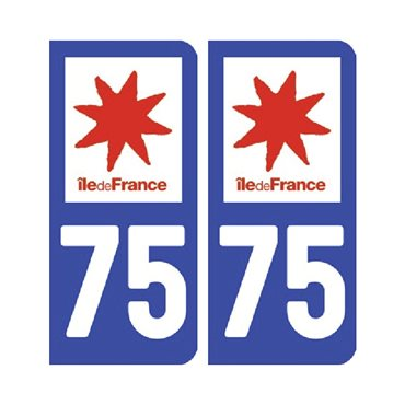 Sticker plaque Paris 75 - Pack de 2 - Île-de-france & autocollant voiture - stickmycar.fr