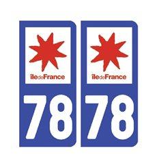 Sticker plaque Yvelines 78 - Pack de 2