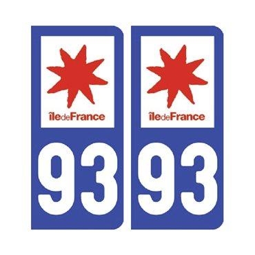 Sticker plaque Seine-Saint-Denis 93 - Pack de 2 - Île-de-france & autocollant voiture - stickmycar.fr