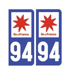 Sticker plaque Val-de-Marne 94 - Pack de 2