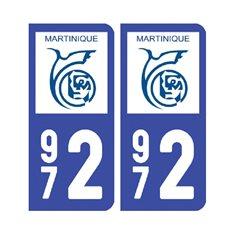 Sticker plaque Martinique - 972 Pack de 2
