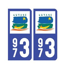 Sticker plaque Guyane 973 - Pack de 2