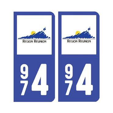 Sticker plaque Réunion 974 - Pack du 2 - drom & autocollant voiture - stickmycar.fr
