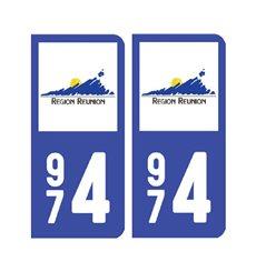Sticker plaque Réunion 974 - Pack du 2