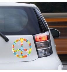 Sticker Peace and love fleurs blanc