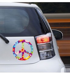 Sticker Peace and love fleurs violet