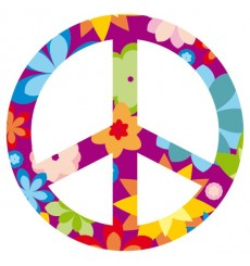 Sticker Peace and love fleurs violet