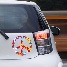 Sticker Peace and love fleurs rouge